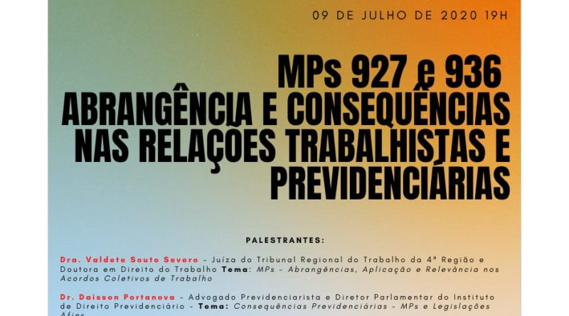 O Sinsercon/RS realizará dia 09/07 as 19hs evento sobre as MPs 927 e 936