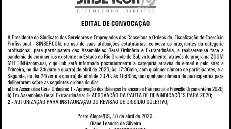 EDITAL DE CONVOCAÇÃO – ASSEMBLEIAS GERAL ORDINÁRIA E EXTRAORDINÁRIA