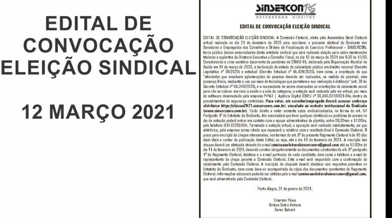 Edital de Convocação para Eleição Sindical – 12 março de 2021 – Edital publicado ZH