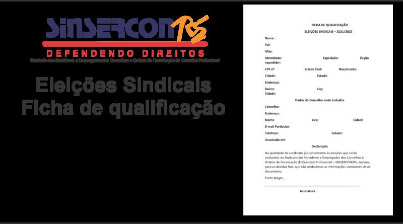 Eleições Sindicais – Ficha de qualificação