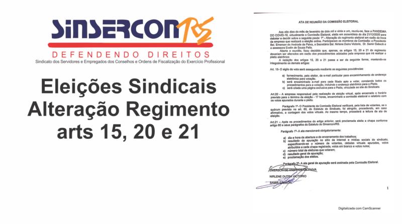 Eleições Sindicais – Alteração Regimento – arts 15, 20 e 21